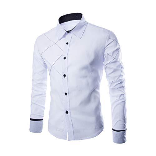 Shirt Herren Tops Herren Slim Fit Button Langarm Frühlings- Und Herbst Mode Business Casual Hochzeitsfeier Arbeit Basic Comfortable Herren Hemd L-White XXL