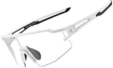 ROCK BROS Photochromic Sports Sunglasses for Men Women Cycling Motorcycle Fishing Sunglasses UV Protection Glasses Fashion Lightweight Frame Black White