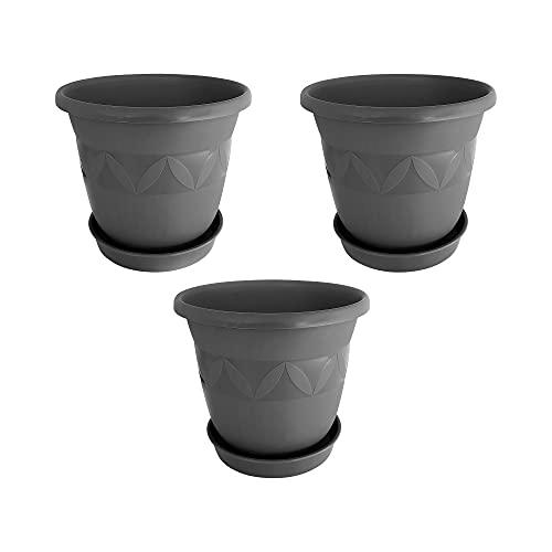 Blumentopf 3er Set 35 cm Durchmesser Anthrazit - runder Pflanzkübel mit Untersetzer aus Kunststoff - witterungsbeständiger Übertopf, großer Pflanztopf…