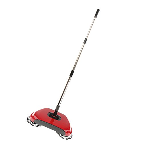 Jili Online Automatic Hand Push Sweeper Magic Spinning Broom 360°Rotating High Efficient - Red