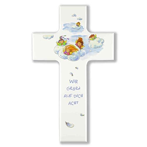 kruzifix24 Kinderkreuz WIR GEBEN AUF Dich ACHT - Schutzengelchen auf Wolke Holzkreuz weiß 15 x 9 cm Taufkreuz Mädchen/Junge Geschenk zur Geburt Geschenkidee