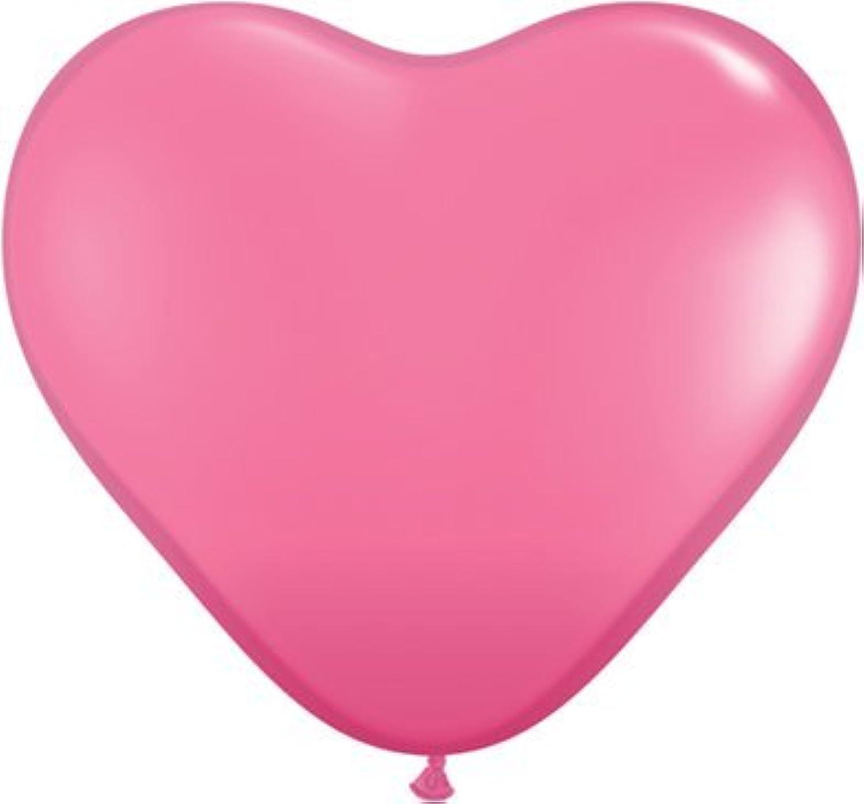 pink Pink 6 Latex Hearts Qualatex Balloons x 10 by Qualatex