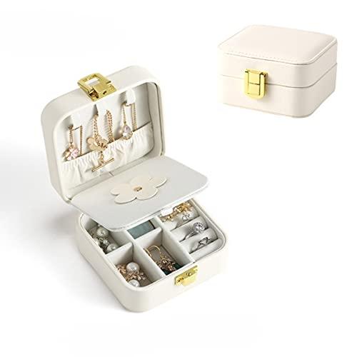 Pequeña caja de joyería para mujeres y niñas de piel sintética, portátil, 2 capas, organizador de exhibición de almacenamiento para anillos, pendientes, collares y pulseras (color: blanco)