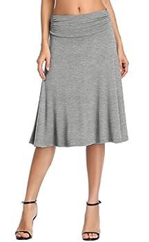 Urban CoCo Women s Ruched Waist Stretchy Flared Yoga Skirt  L Heather Grey