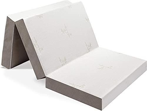 Milliard Colchón Plegable de Tres Partes - 15cm de Profundidad - Para Huéspedes con Funda Extraíble Removible y Base Antideslizante (Individual 190 x 90 cm)