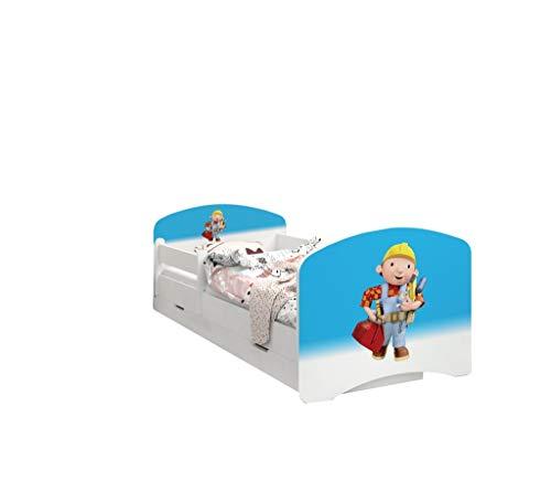 Happy Babies - LIT D'ENFANT DOUBLE FACE AVEC TIROIR Design moderne avec bords sécurisés et matelas en mousse antichute 7 cm (24. Bob le Bricoleur, 190x90)