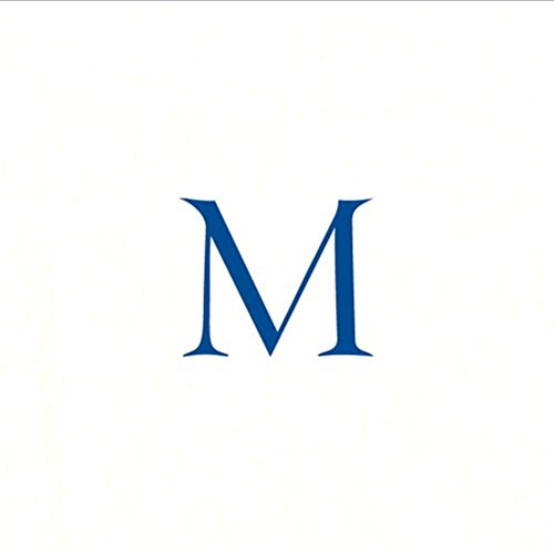 Paper Napkins for Cocktails Monogrammed Personalized with Initial White and Navy Blue M-60 Count Boxed
