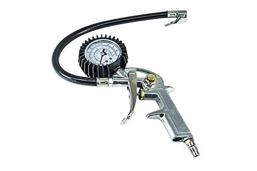 Pistola manometro compressore gonfiaggio aria pneumatico gomme innesto rapido