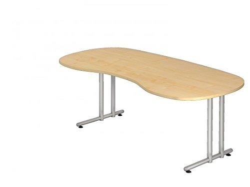 DR-Büro Schreibtisch 200 x 100 cm nierenform - Höhe 72 cm, Bürotisch in 7 Farben - Gestell Silber, Farbe:Ahorn