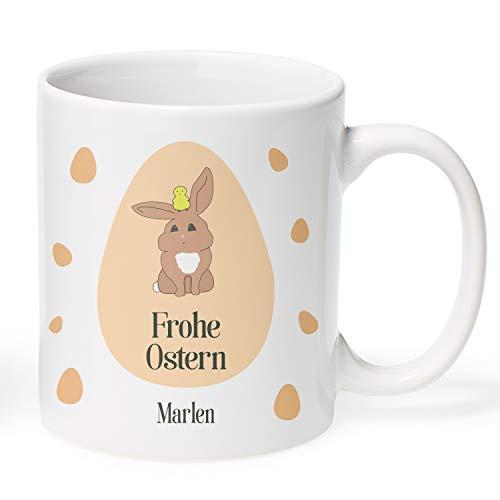 Geschenke.de Osterhase Tasse personalisiert mit eigenem Namen - Oster Kaffeetasse Weiß