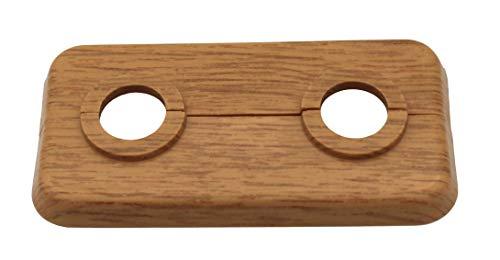 5 STÜCK Doppel-Rosette für Heizungsrohre, Abdeckung, Heizung, Heizkörper, 2-teilig, 12mm bis 18mm, für Laminat und Parkett, PP mit Holz-Dekor: Ahorn, Buche, Eiche (15mm, Eiche - Dekor)