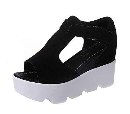 Scarpe - Sandali per Donna - Colore Nero - con Zeppa - Taglia 39 EU - Idea regalo Compleanno - Natale - Festa