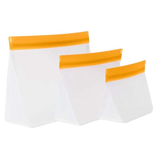 mumi Reusable Zip Up Bags  Food Storage Bags Travel Organizer  Airtight and Leak-proof Seal  Expandable Base  Set of 3 Reusable Bags 10 x 7 8 x 5 6 x 4 inches Orange