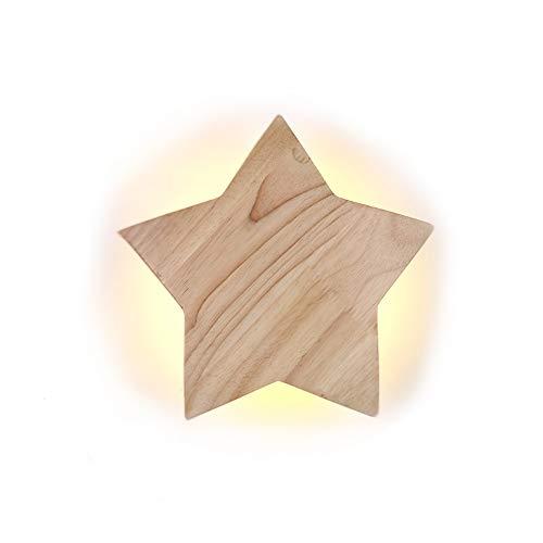 LED Holz Star Wandleuchte Modern Kreativ Karikatur Wandlampe Nachtlicht Nachttischlampen für Baby Kinder Schlafzimmer Wohnzimmer Flur Loft Dekoration Wall Lampe Deckenleuchte 3000K warm Licht, D19CM