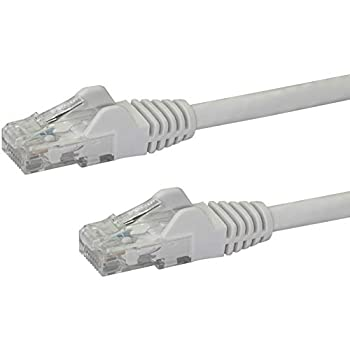 StarTech.com 100ft CAT6 Ethernet Cable - Black CAT 6 Gigabit Ethernet Wire -650MHz 100W PoE RJ45 UTP Category 6 Network/Patch Cord Snagless w/Strain Relief Fluke Tested UL/TIA Certified  N6PATCH25WH