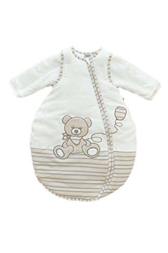 Jacky Mädchen und Jungen Baby Ganzjahres Schlafsack Langarm, 100% Baumwolle, Off White/Ringelstreifen, Gr. 74/80, 350013
