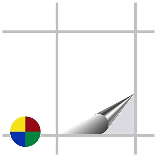 FoLIESEN Fliesenaufkleber Küche u. Bad-15x20 cm glänzend-60, PVC, Weiß glänzend, 60 Stück, Einheiten