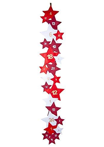 Adventskalender/Sterne / 35 x 206 cm/hängend / 100% Polyester/Filz/rot - weiß / 24 Sterne zum leicht Befüllen