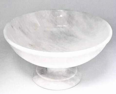 Khan Imports Large White Marble Fruit Bowl, Decorative Stone Centerpiece Bowl on Pedestal - 12 Inch
