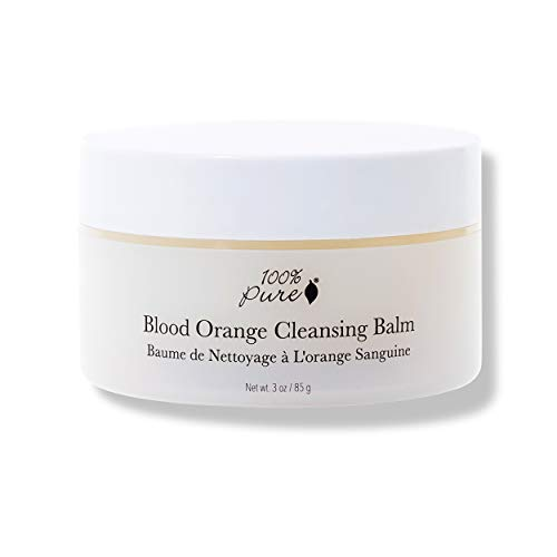 100% PURE Blood Orange Cleansing Balm, Daily Makeup Remover, Oil Based Cleanser for All Skin Types, Moisturizing Facial Cleanser, Made with Coconut Oil, Blood Orange - 3 Oz