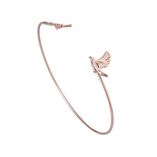 Sharplace Frauen Mädchen Armreif Vogel Blatt Deko Asymmetrisches Design Dünne Armband Armspange - Rotgold