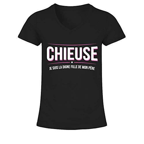 TEEZILY T-Shirt Femme Humour Famille Fille Papa Chieuse Moi ? Je suis la Fille de Mon père - Noir - S