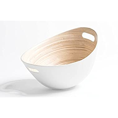 JustNile Bamboo Wood Salad Bowl | Modern Design Bowl Made From 100% Natural Bamboo | For Salad, Potato Chips and More – Different Colors Available- White