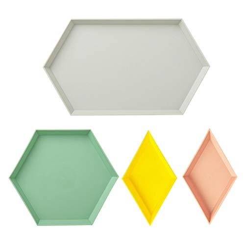 Zunruishop Bandeja de plástico geométrica de Color Creativo para Sala de Estar, Escritorio, Aperitivos, Accesorios para el hogar, Bandeja de Almacenamiento