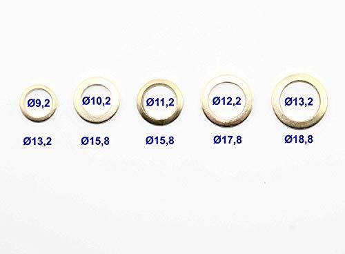 60 Tlg. Fitschenring-Sortiment Ø 9/10/11/12/13 mm, Stahl vermessingt, Fitschenringe-Set