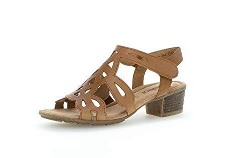Gabor Damen Sandalen, Frauen Riemchensandalen,Best Fitting, Women\'s Women Woman Freizeit leger Sandalette sommerschuh Absatz,Cognac,42 EU / 8 UK