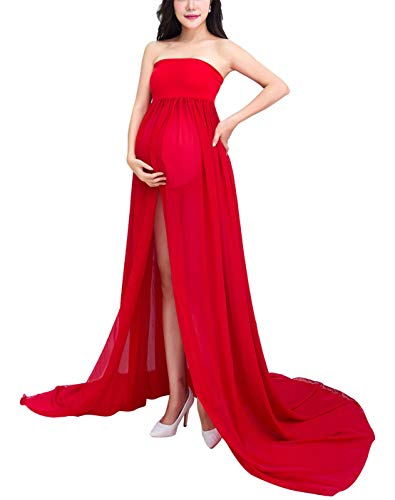 Happy Cherry Femme Enceinte Robe Mousseline Sexy Grossesse Femme Bandeau Robe avec Culotte pour Maternité Photo Shoot - Rouge - Longueur 170cm