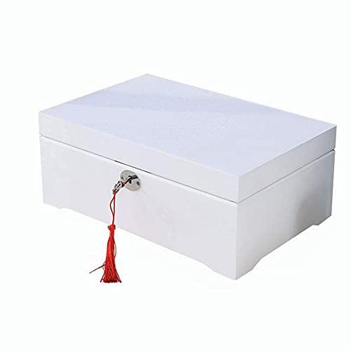 Bella Caja de almacenamiento de joyería organizador caja de madera caja de anillo caja de anillo de alta capacidad con bloqueo y espejo de gamuza de gamuza para anillo reloj pulsera trinket boxwhite