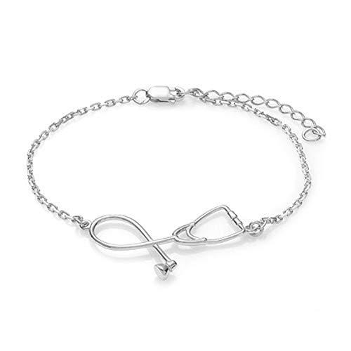 Winwinfly Stethoskop Armband, Geschenk für Krankenschwestern, Ärzte Medizinstudent Schmuck, Krankenschwester Geschenke für Frauen, Krankenpflege Student Geschenke,Blanc K