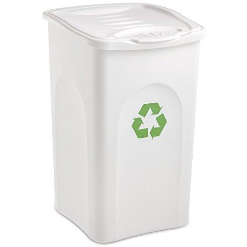 Großer Mülleimer mit Deckel 50 Liter Fassungsvermögen in weiß • Papierkorb Abfalleimer Abfallbehälter Mülltonne Eimer Mülltrennung