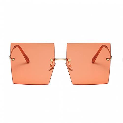 DAIDAICDK Gafas de Sol cuadradas sin Montura de Gran tamaño Hombres Mujeres Marco Grande de Metal UV400 Gafas de Viaje al Aire Libre