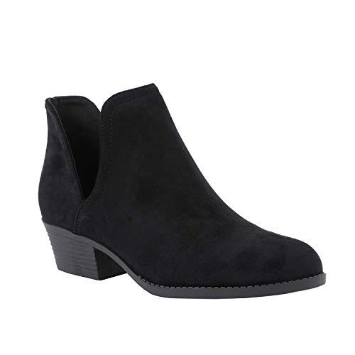 Erneut Damen Stiefeletten Kurzschaft Westernabsatz Cut Out Ankle Boots Slip On Wildleder Booties