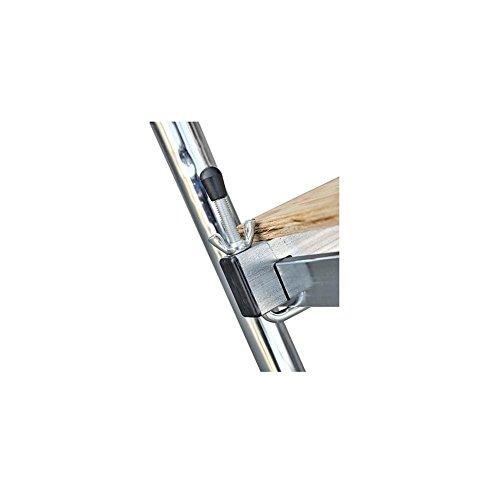 Tafelloper 'Kreo' van gelakt staal met tafelblad; van meerlaags hout, met wielen, volledig demonteerbaar. Tafelblad van hout, gewicht kg. 18,5. Draagkracht: kg. 120. Maximale hoogte van het werk: cm. 372. Afmetingen cm. 144 x 62 x h.212