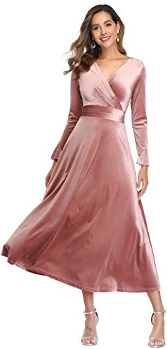 Long Sleeve Flapper Maxi Wrap Dress for Cocktial Party Holiday Midi Formal Dresses, Pink, XL