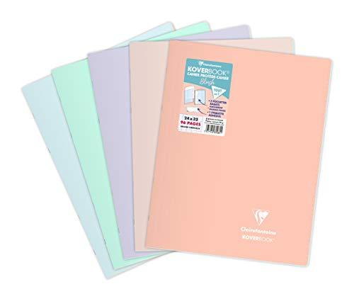 Clairefontaine 981481AMZC Lot de 5 Cahiers Agrafés Koverbook Blush - 24x32 cm - 96 Pages Grands Carreaux - Papier Blanc 90 g - Couverture Polypro Opaque Couleur Aléatoire