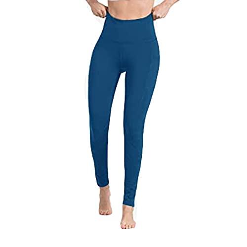 CPNG Yoga-Hose,Sporthose Frauen Workout Out Pocket Leggings Fitness Sport Laufen Yoga Athletic Pants (Blue,L)
