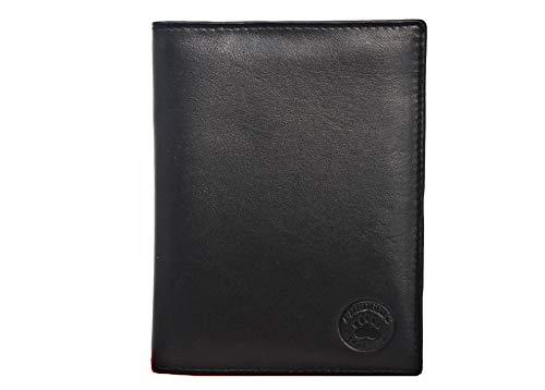 Frédéric & Johns® - Portafoglio in vera pelle di vacchetta molto pratica -Portadocumenti da viaggio in pelle porta passaporto - 22 scomparti per carte - uomo o donna (Nero 1)
