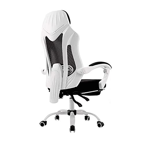 N/Z Home Equipment Gaming Chair Ergonomic Computer Game Chair Seat Height Adjustment Recliner Swivel Rocker E Sports Office Chair with Headrest and Lumbar Pillow (Footrest) (Color : Black)