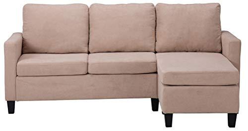 Sofá seccional de combinación de muebles para sala de estar, elegante lino transpirable, en forma de L, color beige
