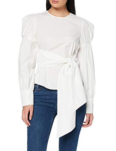 Amazon-Marke: find. Damen Bluse mit Wickeldesign und Ballonärmeln, Weiß (White), 36, Label: S