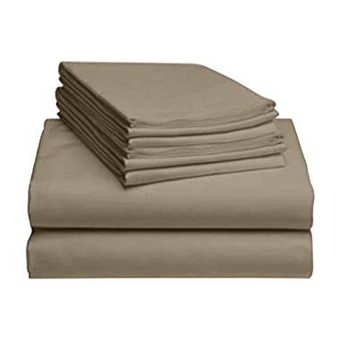 LuxClub 6 PC Sheet Set Bamboo Sheets Deep Pockets 18  Eco Friendly Wrinkle Free Sheets Hypoallergenic Anti-Bacteria Machine Washable Hotel Bedding Silky Soft - Taupe King