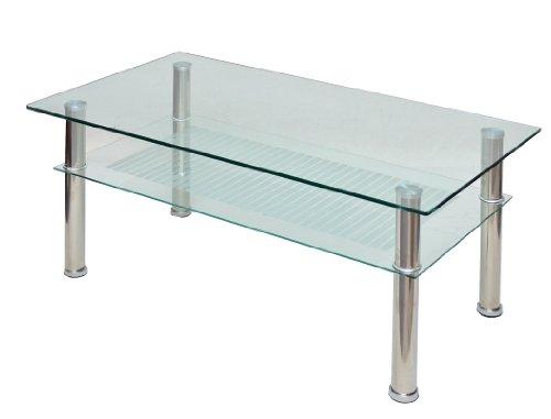 Glastisch 110 x 60 cm Wohnzimmertisch Couchtisch aus Edelstahl mit 10 mm ESG Sicherheitsglas