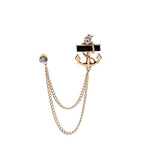 SHUJIA Broche de Anclaje de la Borla de la Moda con los broches de Metal con flujos de Cadena Pin de Solapa Insignia Masculina Traje de Hombre Accesorios