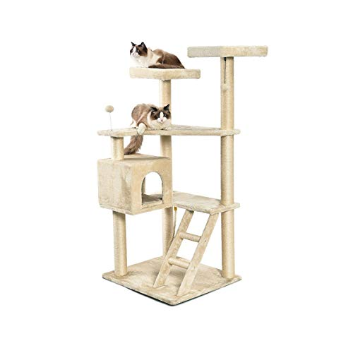 AmazonBasics Extra Large Multi-Level Cat Tree with Condo And Step Ladder - 31.5 x 70.5 x 29 Inches, Beige
