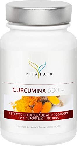 VITAFAIR Curcuma e Piperina Plus - 1000mg Curcuma per Porzione - 90 Capsule - 95{0681b8ede769d4c6bfb1b38b04d85df93095d2a370342b2738500abffe3bf23c} Curcumina = 950 mg - Ad alto Dosaggio - Vegano - Senza Sali di Magnesio - Prodotto in Germania