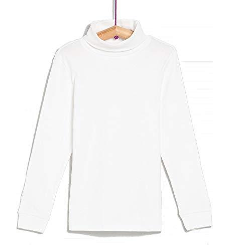 TEX - Camiseta de Algodón para Niño, Manga Larga, Cuello Alto, Blanco, 4 a 5 años